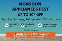 Amazon Monsoon Appliances Fest + 10% Discount ICICI Bank Cards