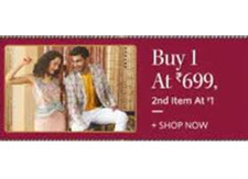 Myntra Fashion: Buy 1 at Rs.699 and Get 2nd Item at Rs.1