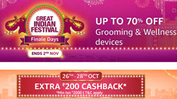 GROOMING & WELLNESS DEVICES Up to 70% Off + Rs 200 Cashback + Bank Discount
